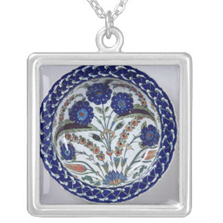 Dish with a floral decoration, Iznik Silver Plated Necklace