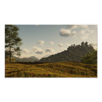Distant Medieval Castle Poster