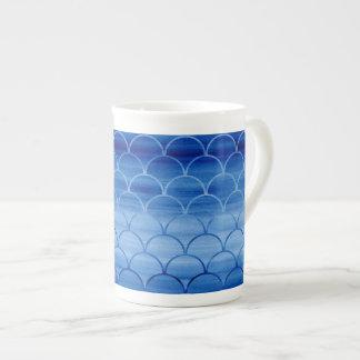 Distinctive Prussian Blue Watercolor Scale Pattern Tea Cup