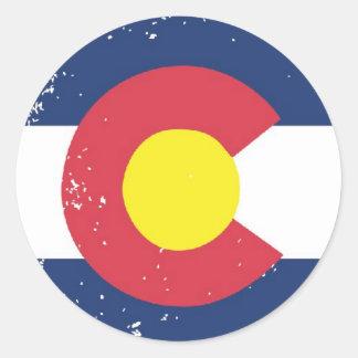 Distressed Colorado Flag Classic Round Sticker