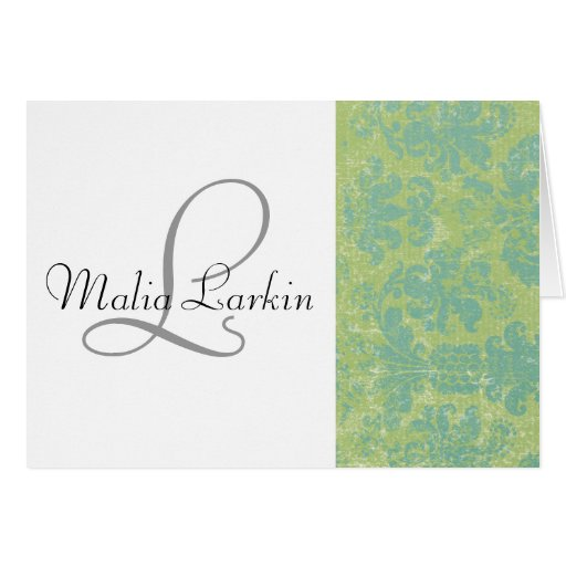 Distressed Damask Card with Monogram