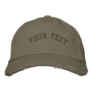 Distressed Embroidered  Cap Olive Green Embroidered Baseball Cap