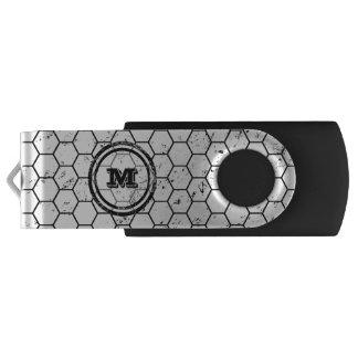 Distressed Honeycomb Monogram Geometric USB Flash Drive