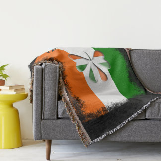 Distressed Irish Flag Tri Colors Themed Shamrock Throw Blanket