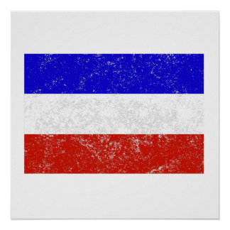 Distressed Serbia and Montenegro Flag Poster