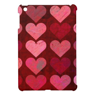 Distressed Texture Valentine Red and Pink Hearts iPad Mini Case