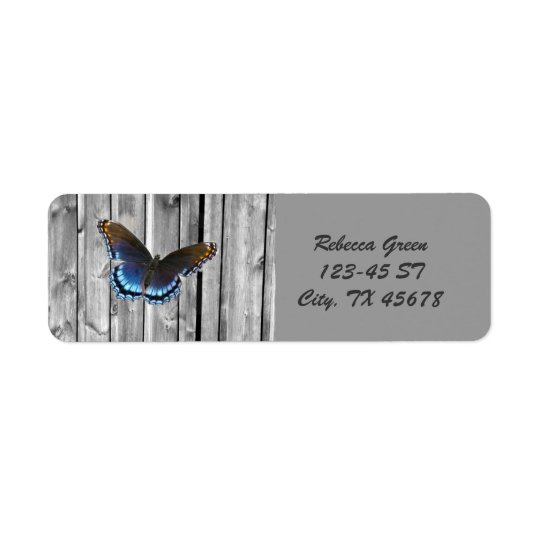Distressed Weathered Wood farmhouse Blue butterfly