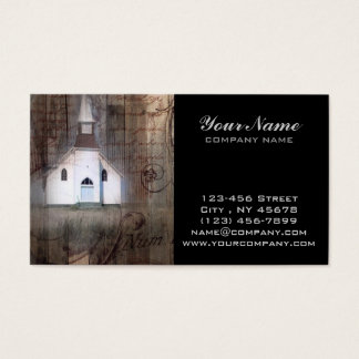Distressed Wood primitive Rustic country church Business Card