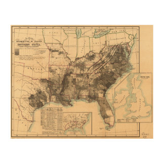 Distribution of Slaves in Southern States Map 1860 Wood Canvases