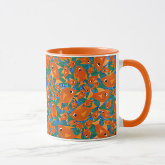 Ditzy Orange Fishes on Sea Green and Blue Mug