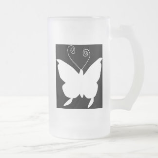 Diva Butterfly Frosted Glass Mug