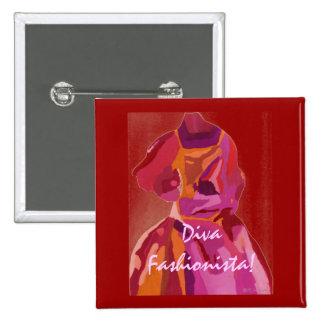 Diva Fashionista Autumn Reds 15 Cm Square Badge