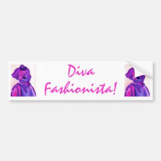 Diva Fashionista In Blue Car Bumper Sticker
