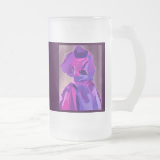 Diva Fashionista In Blue Frosted Glass Mug