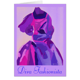 Diva Fashionista In Blue Greeting Card