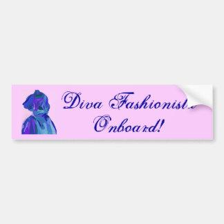 Diva Fashionista In Blue I Car Bumper Sticker