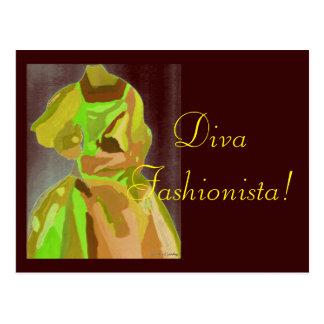 Diva Fashionista In Spring Postcard