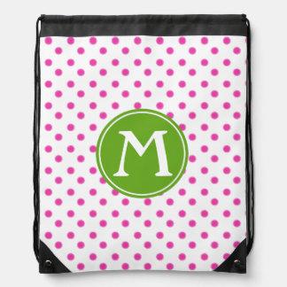 Diva Pink Polka Dot With Green Apple Monogram Drawstring Bag