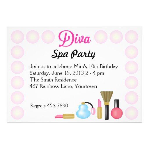 Diva Spa Birthday Party Invitations