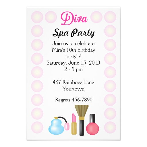 Diva Spa Party Invitations