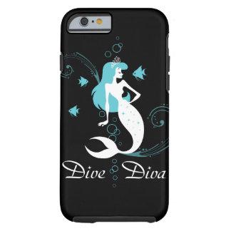 """Dive Diva"" Cyan Mermaid iPhone 6 case (black)"