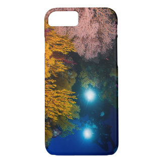 Diver and Soft Corals on the Great Barrier Reef iPhone 7 Case