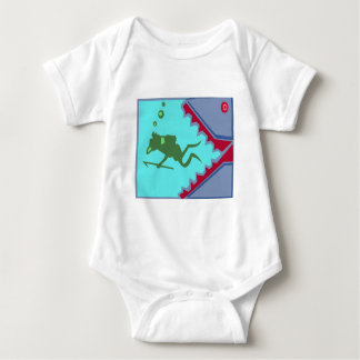 Diver in danger of Shark Teeth Attack Graphic gift Baby Bodysuit