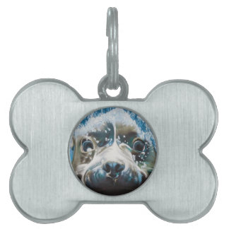 Diving pitbull design pet name tags