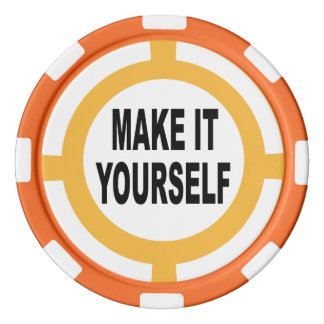 DIY Make It Yourself white and orange Poker Chips