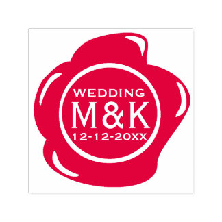 DIY Wedding Funny Faux Red Wax Seal Monogram Self-inking Stamp