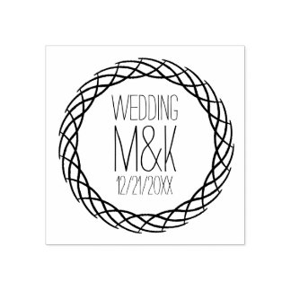 DIY Wedding Monogram Fancy Circle Rubber Stamp