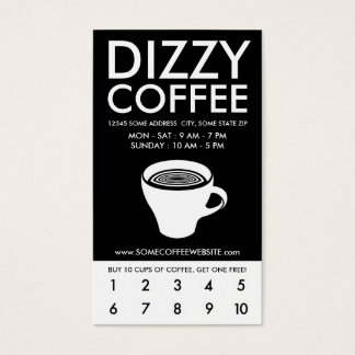 dizzy coffee loyalty program business card