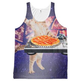 dj cat - cat dj - space cat - cat pizza All-Over print tank top