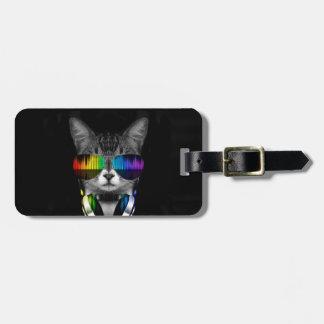 Dj cat - cat headphones - cat sounds luggage tag