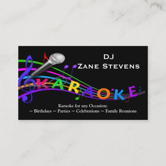 Dj karaoke business card template zazzle dj karaoke business card template reheart Images