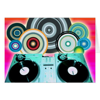 DJ Turntable with Vinyl - Pop Art Greeting Cards