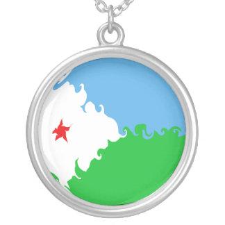 Djibouti Gnarly Flag Round Pendant Necklace
