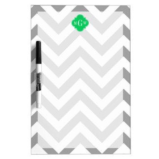 Dk Gray Lg Chevron Emerald Quatrefoil 3 Monogram Dry-Erase Whiteboards