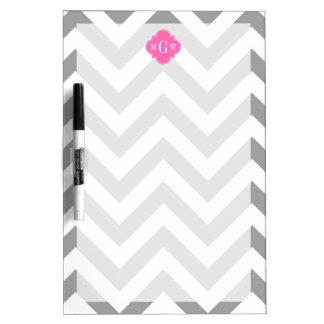 Dk Gray Lg Chevron Hot Pink Quatrefoil 3 Monogram Dry-Erase Whiteboards