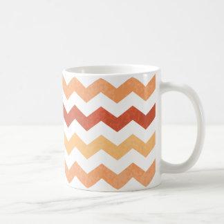 Dk Orange Yellow White Chevron Pattern Grunge Basic White Mug