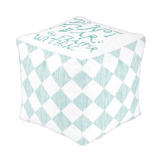 Do Not Fear the Flapper Within Checkered Pouf