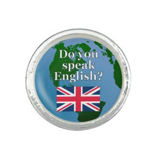 """Do you speak English?"" in English. Flag & globe"