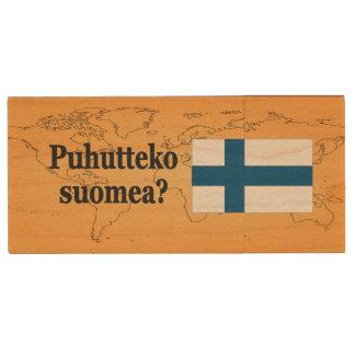 Do you speak Finnish? in Finnish. Flag bf Wood USB 2.0 Flash Drive