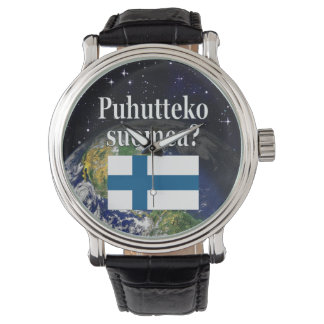 Do you speak Finnish? in Finnish. Flag & Earth Watches