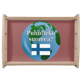 Do you speak Finnish? in Finnish. Flag & globe Food Tray