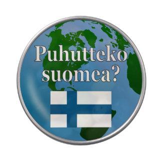 Do you speak Finnish? in Finnish. Flag & globe Candy Tin