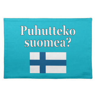 Do you speak Finnish? in Finnish. Flag Cloth Placemat