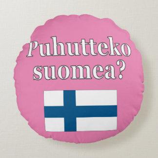 Do you speak Finnish? in Finnish. Flag Round Cushion