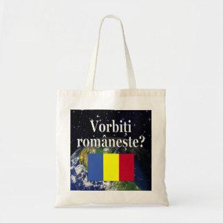 Do you speak Romanian? in Romanian. Flag & Earth Tote Bag