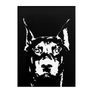 Doberman Black & White Acrylic Wall Art